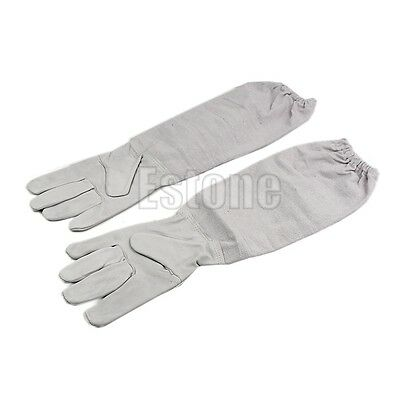 1Pair Protective Beekeeping Beekeeping Vented Long Sleeves Gloves Goatskin white
