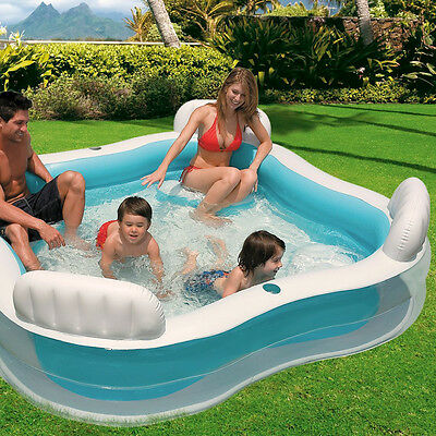 Large Paddling Pool Lounge Inflatable Seats Outdoor Garden Family Kids Swimming