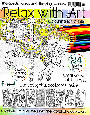 Relax With Art Issue 4 (inc Postcards) New Adult Colouring Mindfulness Magazine