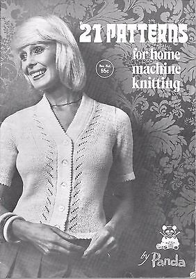 21 Patterns for home knitting machine Panda book sweater cardigan vintage 60's