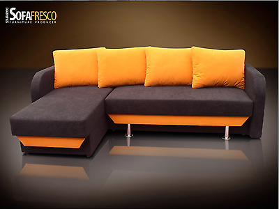 'Fresco' New Chaise Hidden Bed Corner Sofa, Sofa Bed  Faux Suede Fabric