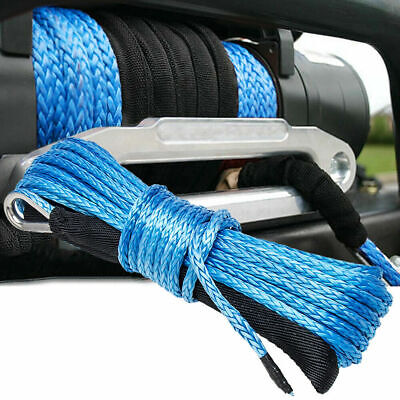"15m(50ft)* 6mm(1/4"") Nylon Synthetic Winch Line Cable Rope fits most car ATV UTV"