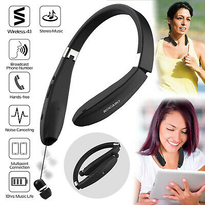 Foldable Stereo Neckband Headset Wireless Bluetooth Retractable Earphone Earbuds