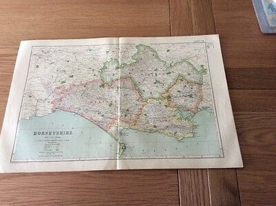 Vintage County Map of DORSETSHIRE from Bacons Atlas 1920