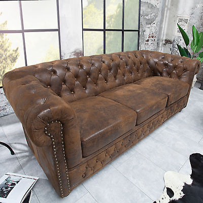 Edles Chesterfield Sofa 3-Sitzer im Antik Couch Polstersofa braun Couch