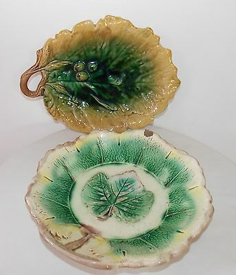 Antique Majolica French Sinceny Acorn & Leaf Platter c1760, fm1038