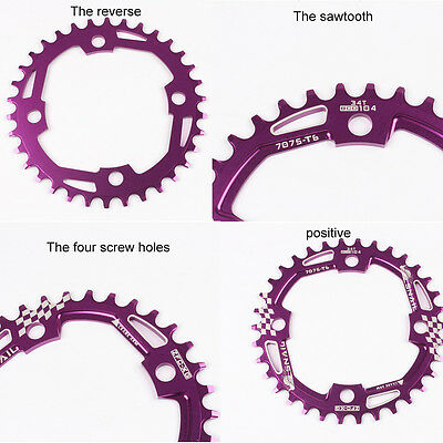32T/34T/36T/38T Round  Chainring Sprocket 104mm BCD 4 Bicycle MTB Mountain Bike