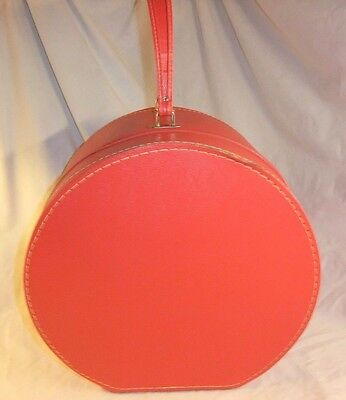 Vintage Travins LipStick Red Hat Box Round Travel Suitcase