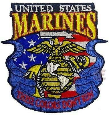 """USMC Marine Corps Patch UNITED STATES MARINES THESE COLORS DON'T RUN  3 3/8"""""""