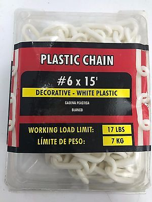 IRONMAN Decorative Plastic Chain #6 X 15' Feet Length White Working Load 17 LBS