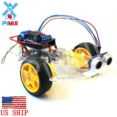 PiMill Arduino Obstacle Avoiding Robot Car Kit - Non Soldering Version