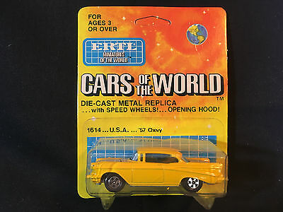 Ertl Cars Of The World '57 Chevy Yellow Toy Car Made In Hong Kong