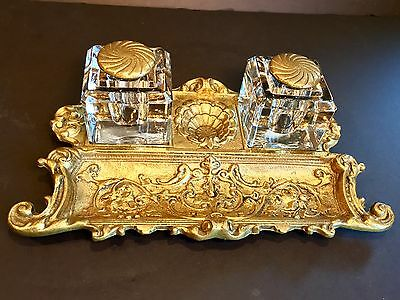 Antique Ornate Victorian Brass Desk Set W Double Inkwells Beautiful
