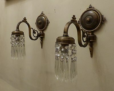 PAIR Elegant Vintage Brass Wall Down Lights/ Down Lighters with Crystal Spears