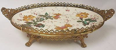 Antique Aesthetic Luneville Pottery Platter in Bronze Mounted Ormolu Fittings