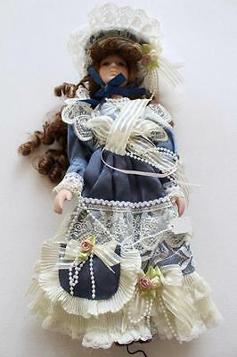 French Soft Body, Porcelain head dressed Doll