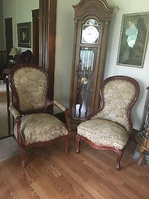 Antique Victorian living room furniture set (upholstered mahogany), couch,chairs