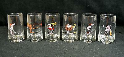 Set of 6 Vintage 1981 Arby's BC Ice Age Collector Series Glass Tumblers