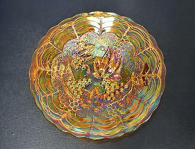 """Vintage Imperial  Marigold Carnival Glass 6.5"""" Plate - Imperial Grape Pattern"""