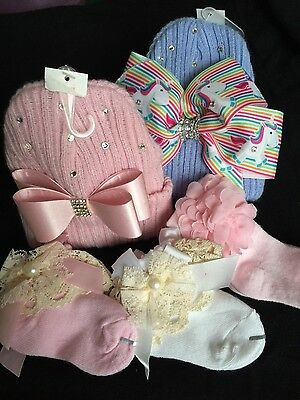 Baby girl pink rhinestone hat with bow hand finishes  0/3 months