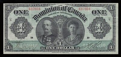 1911 Dominion of Canada $1 Banknote - Nice VF+ Condition