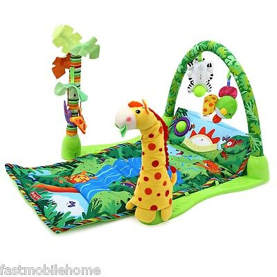 Baby Forest Gym Music Game Blanket Fitness Rack Floor Crawl Play Mat Cushion