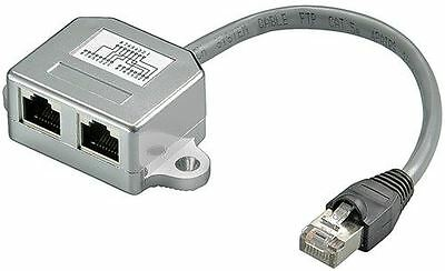 Cable splitter network doubler Y-adapter 2 x CAT 5 Ethernet (NOT FOR BROADBAND)