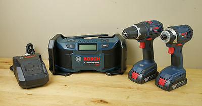 Bosch 3pc 18V Combo Kit- Drill, Impact, Radio, 3 Batteries & Charger