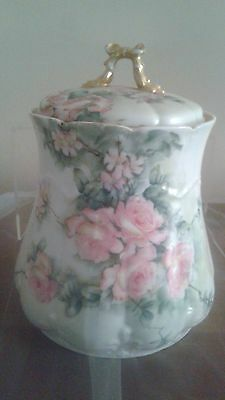 Hand Painted 8 Inch Limoge Biscuit Barrel