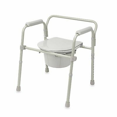 Portable Folding Bedside Handicapped Commode Toilet Seat Safety Potty Chair Aid