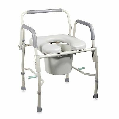 Drop Arm Bedside Commode Potty Chair Padded Seat Arms Toilet Safety Support Aid