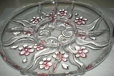 Mikasa Crystal Carmen Round Serving + Dip Platter Excellent 12 1/2""
