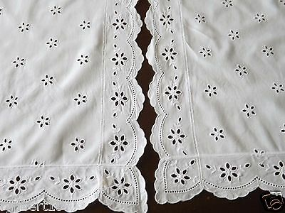2 Vintage Table Dresser Runners White Eyelet Embroidered Broderie Anglaise Lot