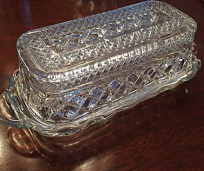 Vintage Anchor Hocking Wexford Clear Glass American Butter Dish Crystal