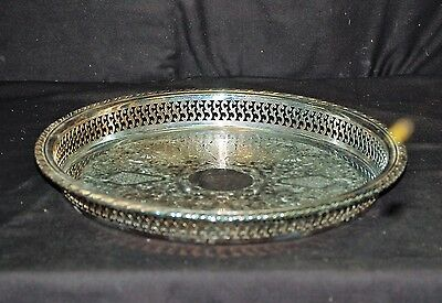 Old Vintage Oneida Silverplate Incised Tray Plate Platter w Pierced Sides U.S.A.