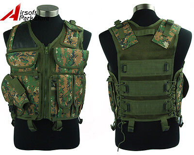 Tactical Military Hunting Molle Combat Vest w/ Pistol Holster Digital Woodland