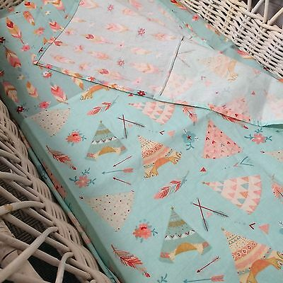 Baby Bassinet Bedding 2 piece set in mint green tee pee and feathers