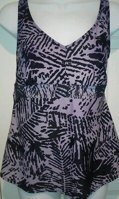 Liz Lange Maternity Swimsuit Top Bathing Suit Swimwear sz Small Purple Black