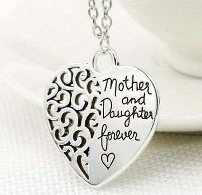 """925 Sterling Silver """"Mother and Daughter Forever"""" Heart Pendant Necklace Gift"""