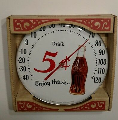 Vintage The Tru Temp Jumbo Dial By TCA Coke Thermometer New in Box 5¢ Coke