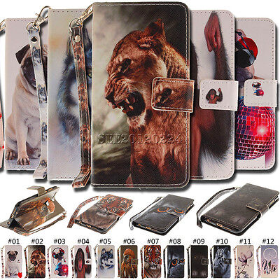 Fashion Flip PU Leather Cover Card Holder Pattern Wallet Case For Huawei Phones