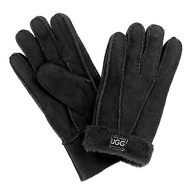 Australian Hand Made Merino Sheepskin Gloves Black - Large