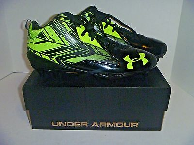 New with box Men's Under Armour Ripshot Mid MC Cleats Black Volt Size 10