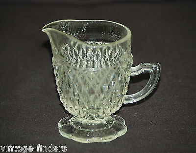Old Vintage Diamond Point Clear Creamer by Indiana Glass Mid-Century
