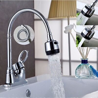 Modern Kitchen Swivel Spout Spring Sink Faucet Pull Down Spray Mixer Tap Chrome