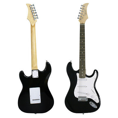 New Electric Guitar Black Full Size with Amp, Case and Accessories Pack Beginner