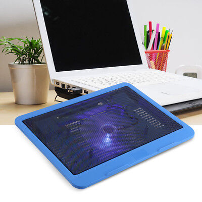 "Laptop Cooler Cooling Pad Base Big Fan USB Stand for 14"" LED Light Notebook CO"