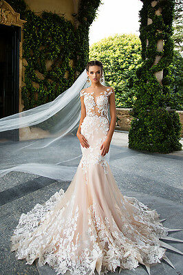 Pink Gorgeous Flower Lace Mermaid Wedding Dress 2017 Backless Tulle Bridal Gown