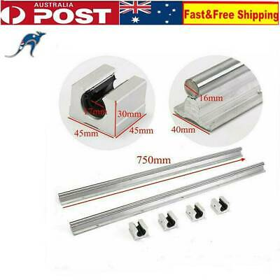 2 x SBR16-750mm 16MM Supported Linear Rail Shaft + 4Pcs SBR16UU Blocks CNC