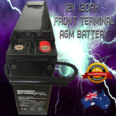 12V 120Ah RAZORBACK PREMIUM FRONT TERMINAL SLIM LINE DEEP CYCLE BATTERY